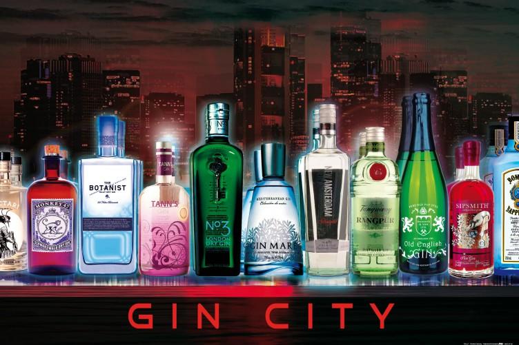 Gin City Flaschen Nachtbar Regal Skyline Poster Plakat Bars 91x61cm #102178