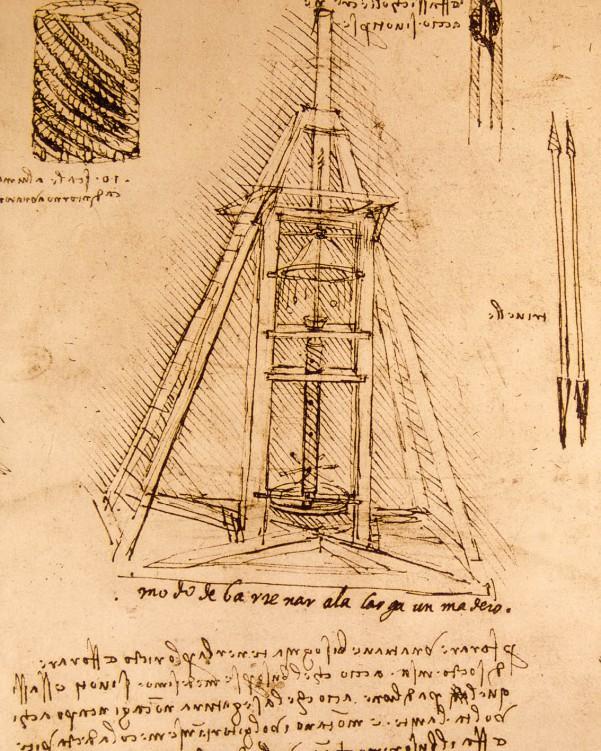 50x40cm Leonardo Da Vinci Zeichnung Bohrmaschine Poster Leinwandbild #88356