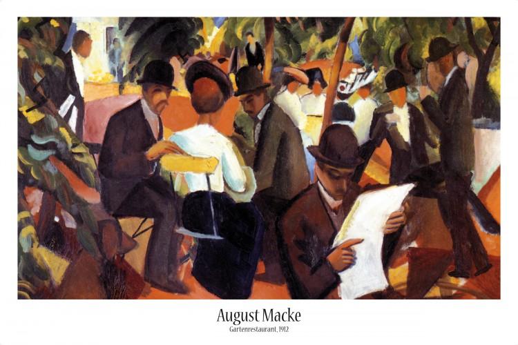 August Macke Landschaft am Tegernsee Poster Bild Kunstdruck /& Alu Rahmen 58x48cm