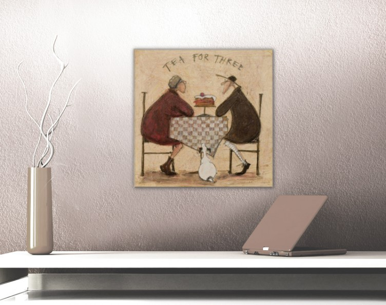#64323 40x40cm Sam Toft Paar Hund Tee Poster Leinwand-Druck